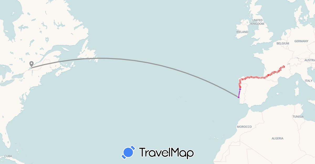 TravelMap itinerary: driving, plane, train, hiking in Canada, Spain, France, Portugal (Europe, North America)